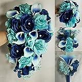 Aqua Navy Blue Rose Calla Lily Bridal Wedding Bouquet Accessories