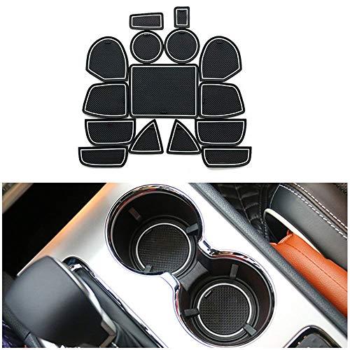 Muchkey Tapis Anti-poussière Antidérapante, pour 2011-2014 Grand Cherokee Coupe Porte Intérieure Tasse Boîte de Bras Tapis de Stockage Blanc 15 pièces par Set