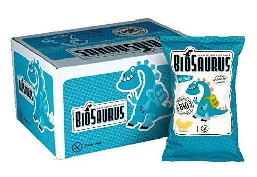 Biosaurus Baked Organic Corn Snack für Kinder - 12x50g (Salz) - Gebackener knusprige Bio-Snack aus Mais, Nicht Frittiert | Low Fat, Glutenfrei, BIO, keine Chemie, VEGAN | - 12x50g (Salz)