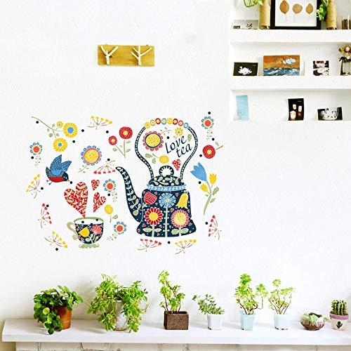 Muurstickers, zelfklevend, van PVC, met theepot, meerkleurig, geschikt voor slaapkamer, woonkamer, kinderkamer, thuisdecoratie, om zelf te maken