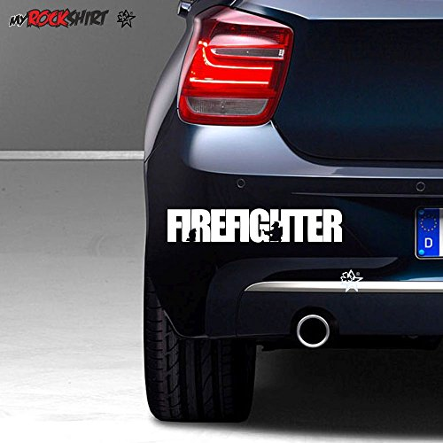 Firefighter ca. 20 cm Aufkleber,Sticker,Autoaufkleber,Heckscheibe,Lack,Auto,Feuerwehr,Rettungsdienst,Retter + Bonus Testaufkleber