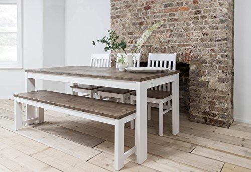 Hever Esstisch mit 3Stühlen und Bank in weiß und dunkelblau Kiefer Noa & Nani