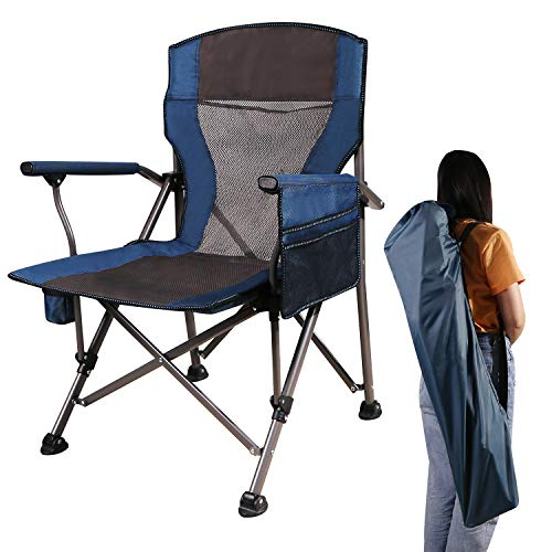CAMPMOON Camping Folding Chair for Adults, Comfortable Lightweight Portable Heavy Duty Folding Chairs for Outdoor Sporting Events, Blue