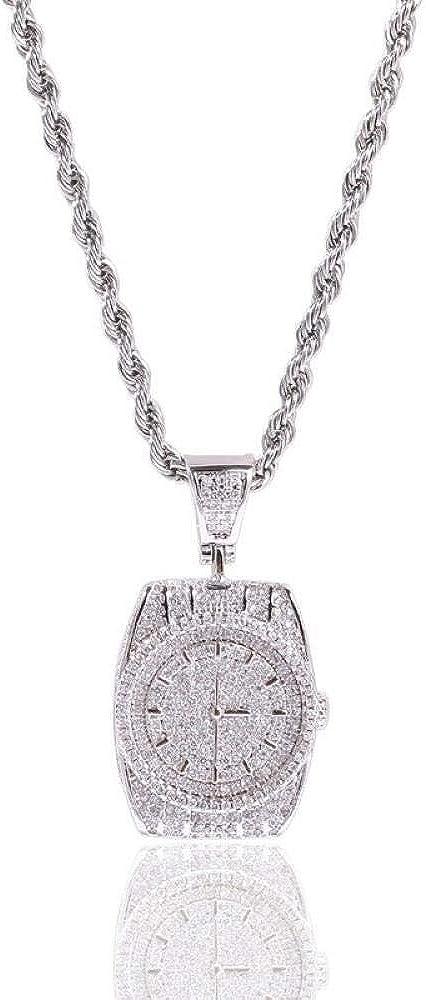 Collares Collar de cadena de hip hop para hombres Moda creativa Reloj de bolsillo retro en forma de rapero durante el regalo de la joyería