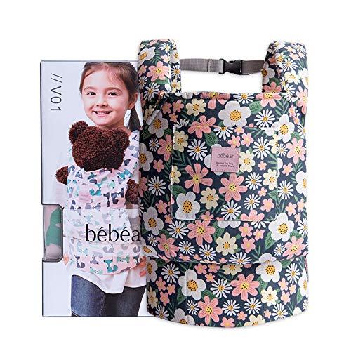 Bebamour Baby Puppentrage für Mädchen, 3 in 1 Babytrage Sling für Kinder, 100% Baumwolle Baby Doll Carrier, Green Flower