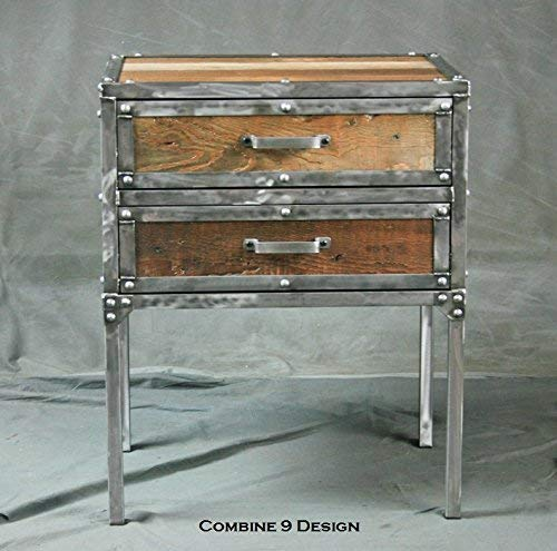Best Review Of Vintage Industrial Night Stand with Drawers. Modern End table. Reclaimed Wood. Polish...