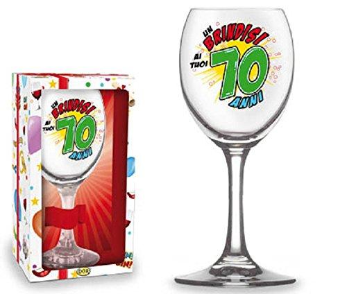 BICCHIERE 70 ANNI Calice vetro Gadget stampato idea regalo festa 70° Compleanno