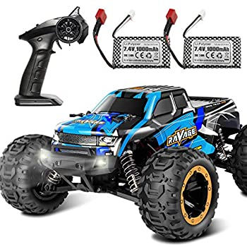 RC Cars Fcoreey RC Truck 1 16 Remote Control Car for Boys 40 Km/h High Speed Racing Car 2.4 GHz 4x4 Off Road Monster Truck Electric Vehicle with LEDs Hobby Car Toy Gift for Adults Kids Girl