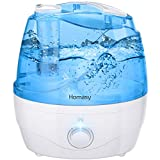 Homasy Cool Mist Humidifier, 28dB Quiet BPA-Free Ultrasonic Air Humidifier for Bedroom, Independent Power Adapter, 30H Run Time, 360 Nozzle, Auto Shut Off, Blue