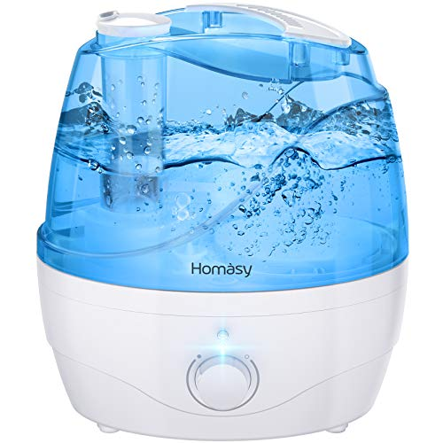 Homasy Ultrasonic Cool Mist Humidifier, Bedroom Humidifier for Babies, Mom and Office, Air Humidifier for 24 Hours Quiet Working, Auto Shut-Off with Dial Knob Mist Control, Jet Black
