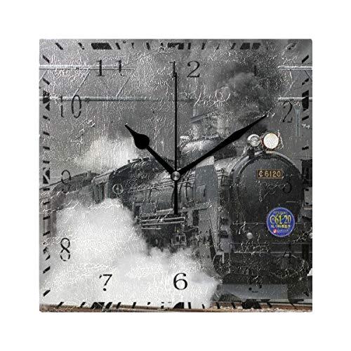 SENNSEE Reloj de pared antiguo tren ferroviario retro cuadrado decorativo reloj para sala de estar, dormitorio, cocina, decoración del hogar con pilas