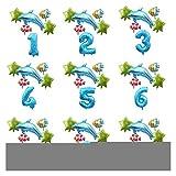 Ysjspd Globo Grande Océano Hoja hincha bebé Shark Boy Fiesta de cumpleaños de los niños Embroma suministra Número Globo de la decoración (Color : Set 16, Shape : Number 12)