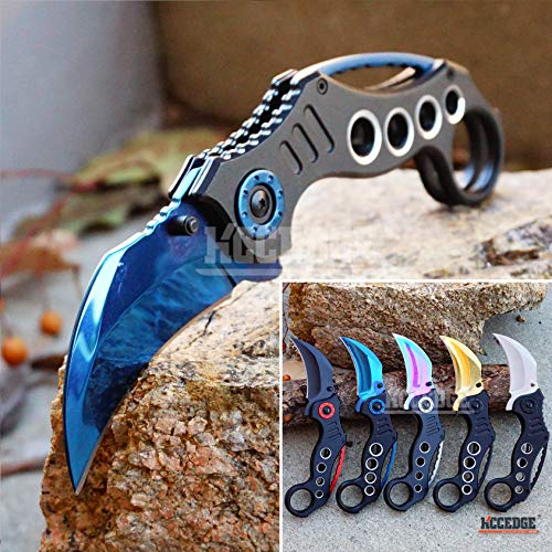 KCCEDGE BEST CUTLERY SOURCE Pocket Knife Camping Accessories Survival Kit Razor Sharp Karambit Survival Folding Knife Camping Gear EDC 55310 (Blue)