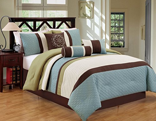 Closeout 7 Piece Bed / Comforter in a Bag (King, Blue / Green)