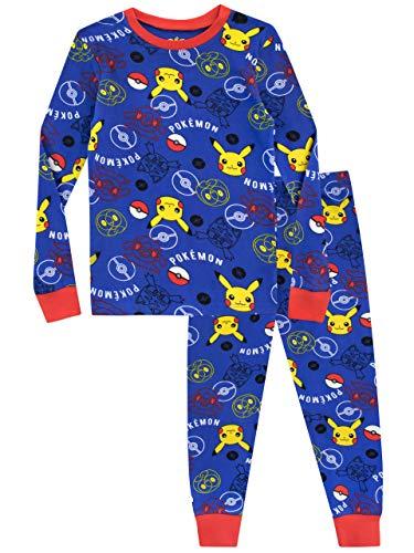 Pokemon Pijama para Niños Pikachu Ajuste Ceñido Azul 5-6 Años