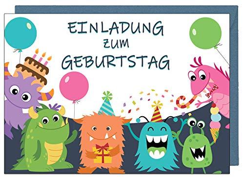 the lazy panda card company 15 Einladungskarten Kindergeburtstag: Monster Geburtstagseinladungen Einladungen Geburtstag Kinder Mädchen (15 Karten mit 15 passenden Umschlägen Briefumschlägen)