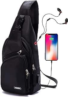 Men's Sling Bag Water Resistant Shoulder Chest Crossbody Bags Sling Backpack with USB Charging Port