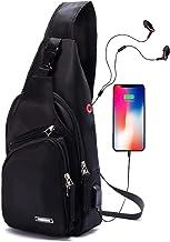 Men Sling Backpack Nylon Water Resistant Shoulder Chest Crossbody Sling Bag with USB Charging Port Black