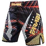 FARABI MMA Boxeo Kickboxing Muay Thai Mix Artes Marciales Jaula Lucha Entrenamiento Gimnasio Ropa Pantalones Cortos (Amarillo Negro, Mediano)