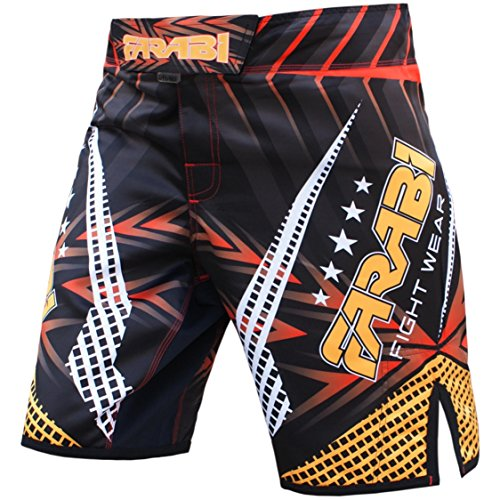 Farabi Sports MMA Shorts Compitiion Training Cage Fight Kick Boxing Muay Thai Pant, Size Guideline in Pictures Area (Small)