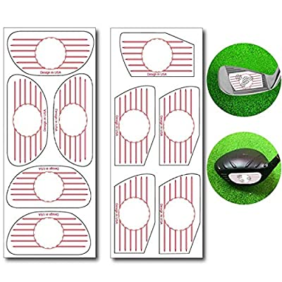 Golf Club Impact Tape Labels for Standard Woods Irons Ball Hitting Recorder 125/250 Pcs, Club Face Stickers Training Aids for Golfer Swing Practice (125 Woods+125 Irons)