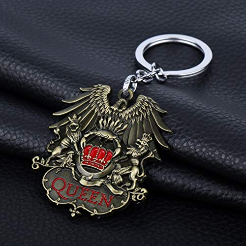 Rock Band Queen Keychain Necklace Punk Antique Metal Band Fans Key Holder Car Bag Choker Key Chain Pendant Jewelry