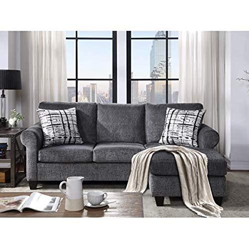 NOUVCOO Sofá seccional convertible con dos almohadas, sofá tapizado en forma de L de 3 plazas con tela de lino moderna para espacio pequeño, sala de estar (gris)