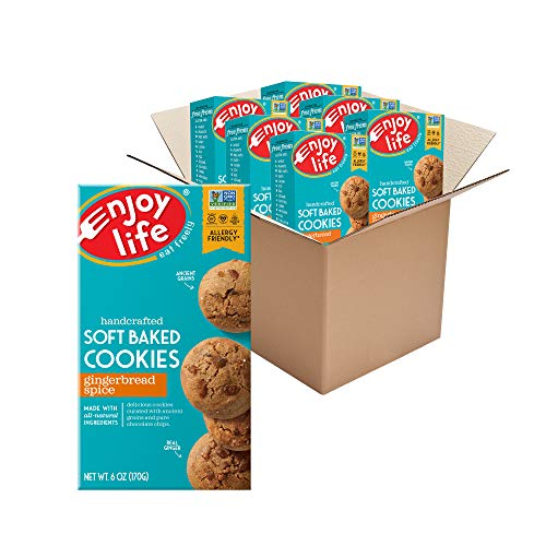 Enjoy Life Gingerbread Spice Soft Baked Cookies, Soy Free, Dairy Free, Non GMO, Gluten Free, Vegan, Nut Free Cookies, 6 Boxes