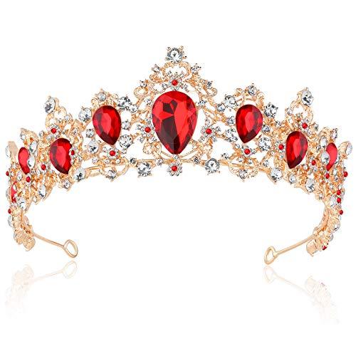 Coucoland Braut Tiara Hochzeit Krone Luxus Prinzessin Diadem Kristall Geburtstag Krone Damen Kostüm Accessoires (Stil 4 - Gold Rot)
