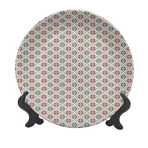 Plato decorativo de cerámica para colgar de 20,32 cm, diseño de rosa selbu noruega tradicional en orden diagonal nórdico clásico decorativo plato de cerámica para mesa de comedor, catering