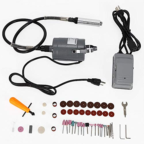 55pc Electric Flexible Shaft Die Carving Grinder Rotary Tool Variable Speed Foot Pedal Kit USA Stock
