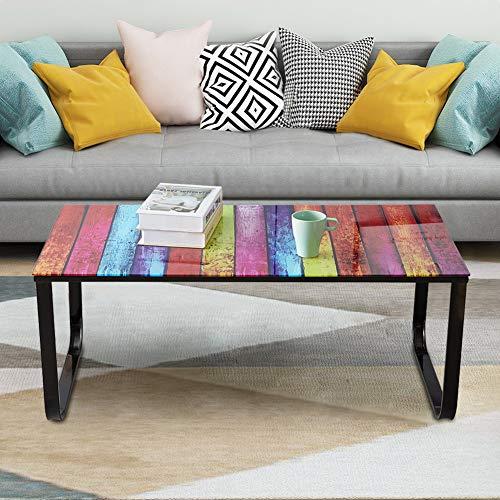 N/Q KJ FurNISHING Mesa de centro con pintura arco iris de 6 mm, parte superior de cristal templado y marcos de metal, moderna mesa auxiliar para muebles de salón (arco iris)