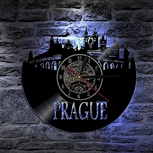 TeenieArt Vista de la Ciudad de Praga Reloj de Pared de Vinilo de la Regalo Original para Decoración de la Pared Decoración de la habitación Decoración de Fiesta Hecha