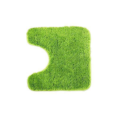 WohnDirect Alfombrilla de baño – Alfombra baño – Antideslizante – Alfombra para el Cuarto de baño – Lavable – Alfombrilla para el Inodoro – Verde - 45 x 45cm con Recorte para el Inodoro