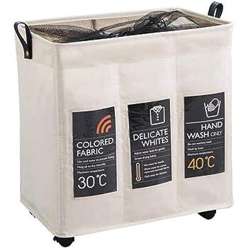 En Crema Navaris Cesta para Ropa Sucia de 3 Compartimentos Organizador de Colada de 130L Cesto de lavander/ía para Ropa de Color Oscura Clara