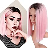 Iusun Short Straight Wigs,14'' Pink Women's Lace Front Bob Heat Head Resistant Synthetic Wigs Cosplay Costume Wigs Daily Party Anime Hair Wig High Temperature Fiber (Pink)