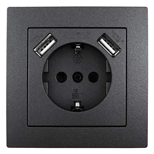 MC POWER - Schutzkontakt-Steckdose mit 2x USB | FLAIR | 250V, 5V/2,1A, UP, anthrazit, matt