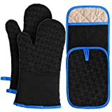 OCOOKO Oven Mitts and Pot Holders 4PCS Set | 500℉ Heat Resistant Oven Gloves with Non-Slip Silicone & Extra Large Potholders with Pocket | Kitchen Mittens for Cooking Baking Grilling