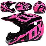 KIVEM Casco de Moto,Casco de Motocross,Casco de Cross de Moto Set con Gafas Máscara Guantes,Deportes de Motos Off-Road Racing Downhill Enduro Casco ATV MTB BMX Quad Cascos de Motocicleta,Negro Rosa,M