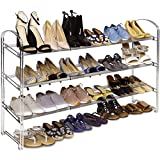 Seville Classics 3-Tier Expandable 24-Pair Shoe Rack Non-Slip Metal Freestanding Closet, Entryway, Bedroom Footwear Organizer, Chrome Poles