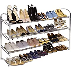 ADJUSTABLE 3-TIER RACK - Organize up to 24 pairs of shoes for men, women, and children. Store multiple shoes beneath the rack. EXTENDABLE NON-SLIP STORAGE - Rack extends from 25. 4 to 46. 6 inches wide for a perfect fit. Poles are coated in a rough, ...