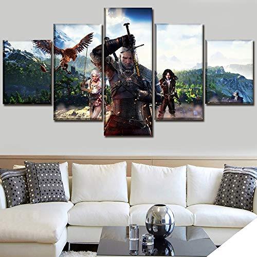 OPARY Moderno Art º Pintura 5 Paneles Juego The Witcher 3 Wild Hunt Imagen Impresión en Lienzo Póster Pared Decorativo Habitación Ilustraciones,B,30×40×2+30×60×2+30×80×1