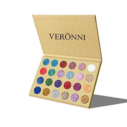VERONNI Glitter Eyeshadow Palette 24 Colors High Pigment Eye Shadow Powder Makeup Beauty Party Pallet Long Lastisng Waterproof (24 Glitter Eyeshadow)