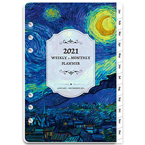 """2021 Planner Refill - 2021 Weekly & Monthly Planner Refill , A5 Planner Inserts, 5-1/2"""" x 8-1/2"""", Jan 2021-Dec 2021, Loose Leaf paper, Refill Paper 2021 with Eye-Catching Cover, 6-Hole Punched"""