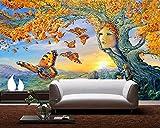 Renovación del hogar Muebles Decoración Papel Tapiz 3D Mural Etiqueta de la Pared Ãrbol Dorado Mariposas Volando 3D Estéreo TV Sofá Fondo Mural de Pared 400cmX300cm