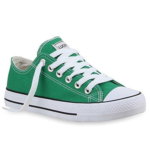 stiefelparadies Damen Sneakers Sportschuhe Schnürer Schuhe 53095 Moosgrün Ambler 36 Flandell