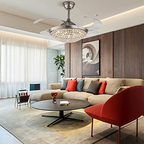 Ventilador de techo con iluminación, aspas retráctiles de 100 cm, ventilador de techo con lámpara LED