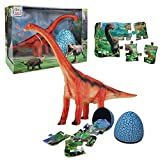 Brachiosaurus Dinosaur Toy Sets, Realistic Roaring Jumbo Dinosaur & Dinosaur Puzzle & Dinosaur Egg 3 in 1 Toddler Toys Set for Kids Boys and Girls Age 3 and up Play, Education, Birthday