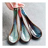 ZHNA Conjunto de 3 Piezas de cerámica Cuchara de Comidas Cuchara Cuchara pequeña Cuchara pequeña