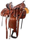 Wonder Wish Western Tooled Western Pleasure Trail - Sillín de piel para caballo